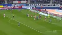 Vedad Ibisevic scores in the match Hertha Berlin vs Hamburger