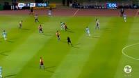 Derlis Gonzalez scores in the match Argentina vs Paraguay