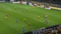 Valentin Stocker scores in the match Dortmund vs Hertha Berlin