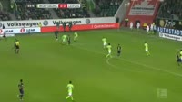 Emil Forsberg scores in the match Wolfsburg vs RB Leipzig