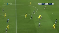 Pierre-Emerick Aubameyang scores in the match Sporting Lisbon vs Dortmund