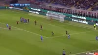 Lorenzo Pellegrini scores in the match AC Milan vs Sassuolo