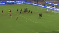 Mauro Icardi scores own goal in the match AS Roma vs Inter