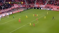 Diogo Figueiras scores in the match Olympiakos Piraeus vs FC Astana