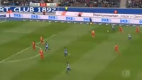 Vedad Ibisevic scores in the match Hertha Berlin vs Koln
