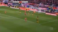 Dario Lezcano scores in the match Ingolstadt vs Dortmund