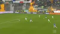 Sandro Sirigu scores in the match Darmstadt vs Wolfsburg