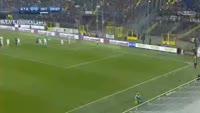 Andrea Masiello scores in the match Atalanta vs Inter