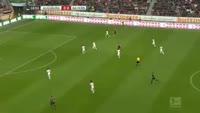 Robert Lewandowski scores in the match Augsburg vs Bayern Munich
