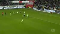 Admir Mehmedi scores in the match Wolfsburg vs Bayer Leverkusen