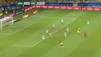 Jose Paulo Bezzera Maciel Junior scores in the match Brazil vs Argentina