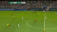 Angel Di Maria scores in the match Argentina vs Colombia