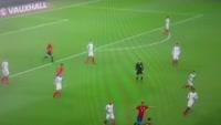 Francisco Roman Alarcon Suarez scores in the match England vs Spain