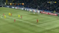 Djordje Despotovic scores in the match FC Astana vs Olympiakos Piraeus