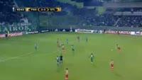 Ibrahima Cisse scores in the match Panathinaikos vs St. Liege
