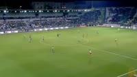 Ishak Belfodil scores in the match Panathinaikos vs St. Liege