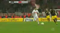 Salih Ozcan receives a red card in the match Koln vs Dortmund