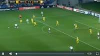 Elazar Dasa scores own goal in the match Maccabi Tel Aviv vs Dundalk
