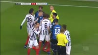 Timothy Chandler receives a red card in the match Eintracht Frankfurt vs Hoffenheim