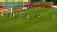 Matas Gavrilovas scores in the match FK Kauno Zalgiris vs FC Stumbras