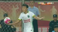 Yifeng Zang receives a red card in the match Beijing Guoan vs Hangzhou Greentown