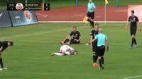 Serghei Alexeev scores in the match Spartaks vs BFC Daugavpils
