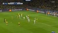 Pierre-Emerick Aubameyang scores in the match Dortmund vs Real Madrid