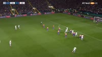 Moussa Dembele scores in the match Celtic vs Manchester City