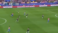 Yannick Carrasco scores in the match Atl. Madrid vs Bayern Munich