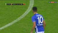 Benedikt Howedes scores in the match Schalke vs Salzburg
