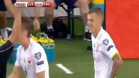 Martin Skrtel receives a yellow card in the match Slovakia vs England