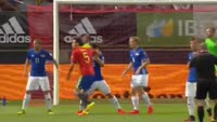 Diego Costa scores in the match Spain vs Liechtenstein