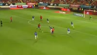 Alvaro Morata scores in the match Spain vs Liechtenstein