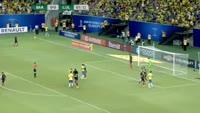 Joao Miranda de Souza Filho scores in the match Brazil vs Colombia