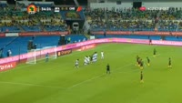 Benjamin Moukandjo scores in the match Burkina Faso vs Cameroon