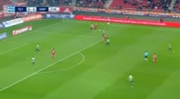 Stratos Svarnas scores own goal in the match Olympiakos Piraeus vs Xanthi
