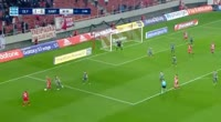 Georgios Manthatis scores in the match Olympiakos Piraeus vs Xanthi