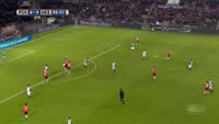 Marco van Ginkel scores in the match PSV vs Heerenveen