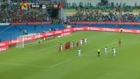 Aristide Bance scores in the match Burkina Faso vs Tunisia