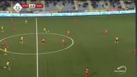 Igor Vetokele scores in the match St. Truiden vs Oostende