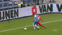 Bersant Celina receives a red card in the match Zwolle vs Twente