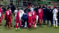 Sebastiao de Freitas Couto Junior receives a red card in the match Xanthi vs Olympiakos Piraeus