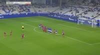 Alberto Zapater scores in the match R. Oviedo vs Zaragoza