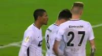Sebastien Haller scores in the match 1. FC Schweinfurt vs Eintracht Frankfurt