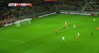 Maksim Volodjko scores in the match Belarus vs Netherlands
