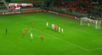 Memphis Depay scores in the match Belarus vs Netherlands