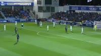 Juan Camilo Hernandez Suarez scores in the match Huesca vs Zaragoza