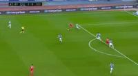 Wissam Ben Yedder scores in the match Real Sociedad vs Sevilla