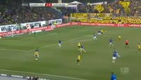 Raphael Guerreiro scores in the match Darmstadt vs Dortmund