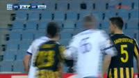Ronald Vargas scores in the match Iraklis vs AEK